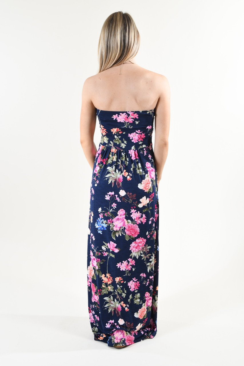Strapless Floral Maxi Dress ~ Navy