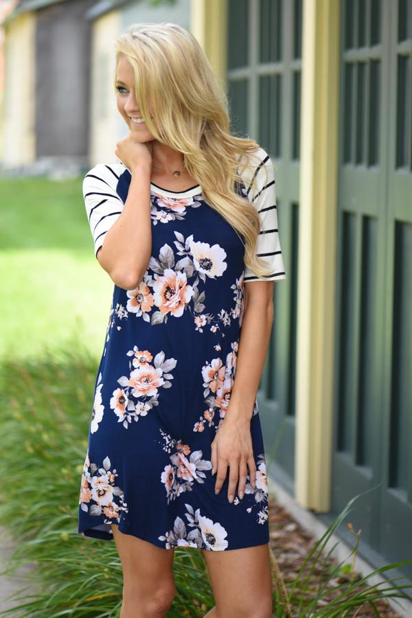 Striped & Floral Dress - Navy
