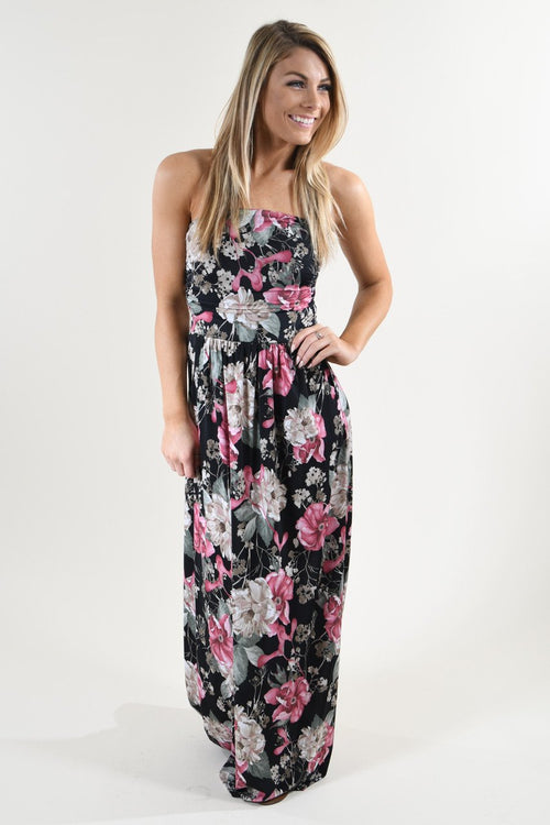 Strapless Floral Maxi Dress ~ Pink & Black