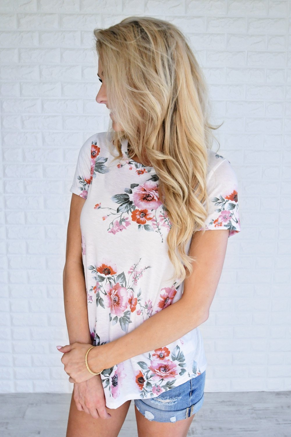 Sugar Kissed Floral Top - Cream