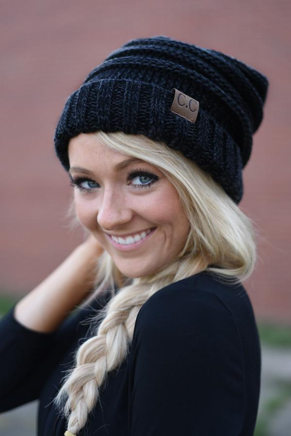 Black & Grey Slouched Beanie