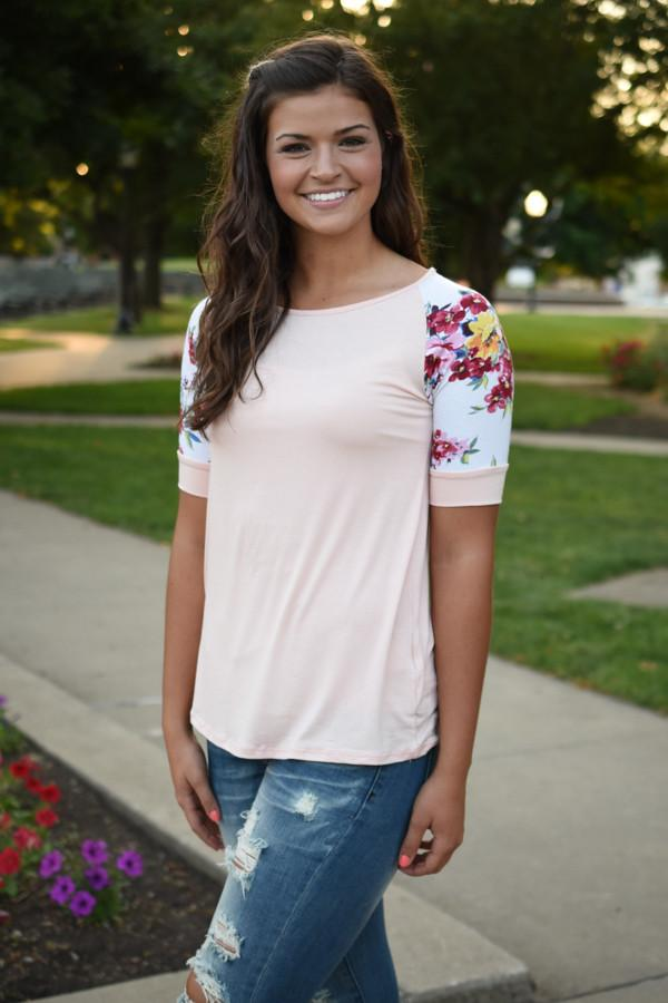 Peach Floral Short Sleeve Top