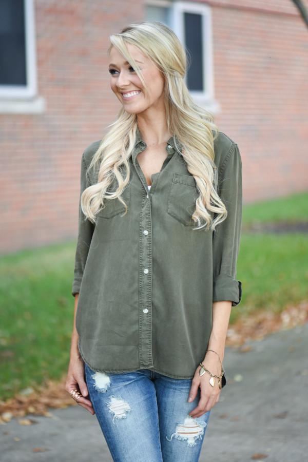 Thread & Supply Olive Button Down