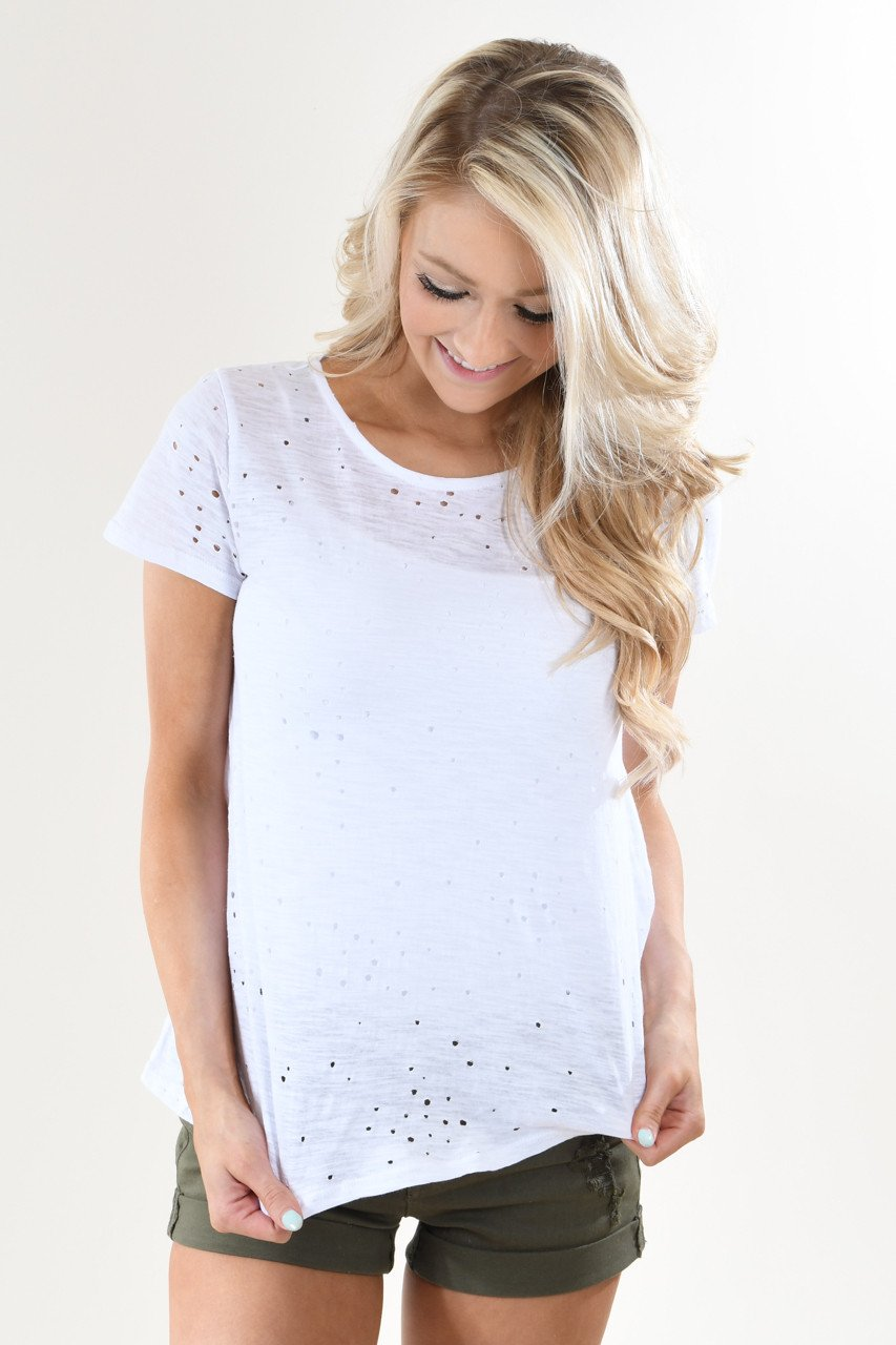 Back Detail Holey Top ~ White