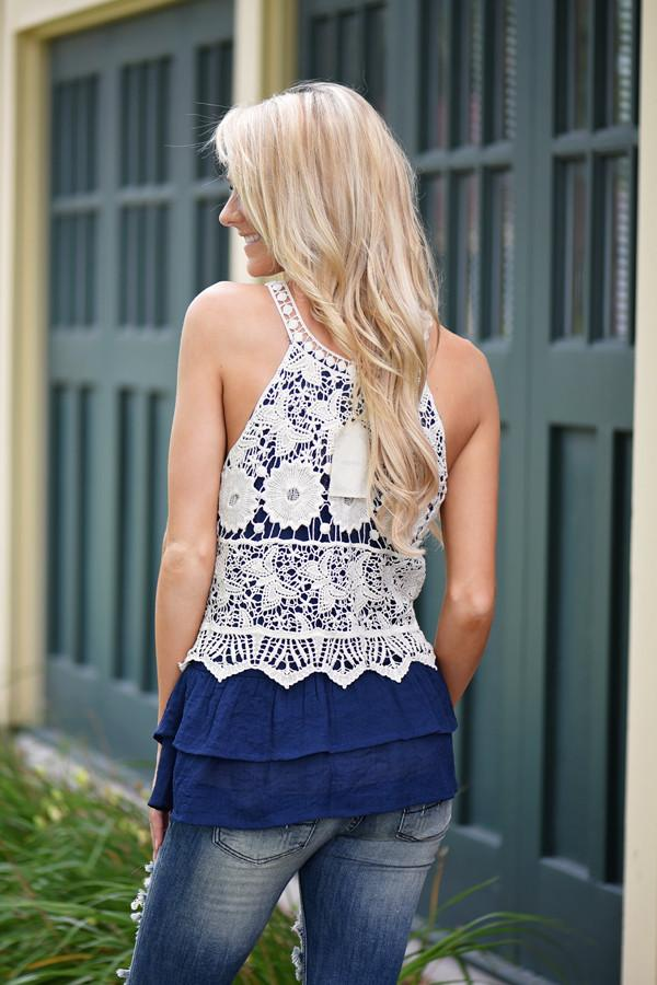 Ruffle My Feathers Crochet Tank ~ Navy
