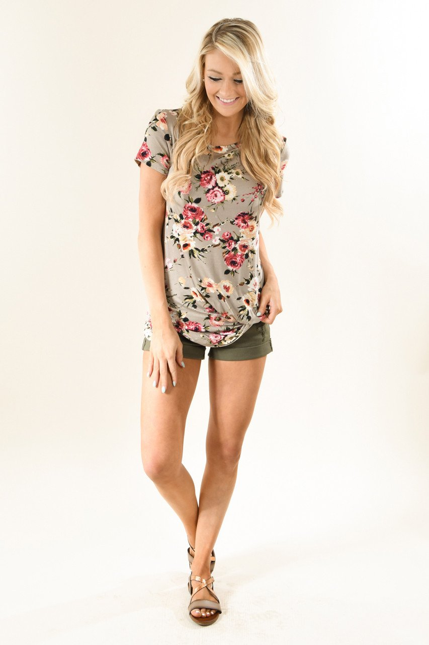 Dark Taupe Floral Knot Top