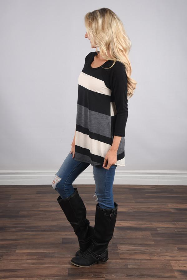 Life in Stripes Top - Steel Grey & Brown