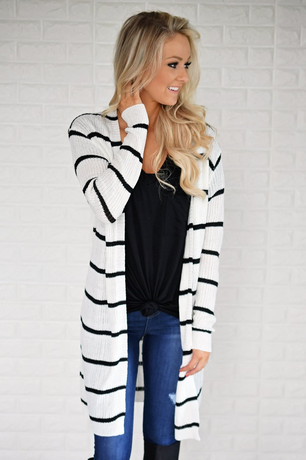 Long Black And White Striped Cardigan The Pulse Boutique