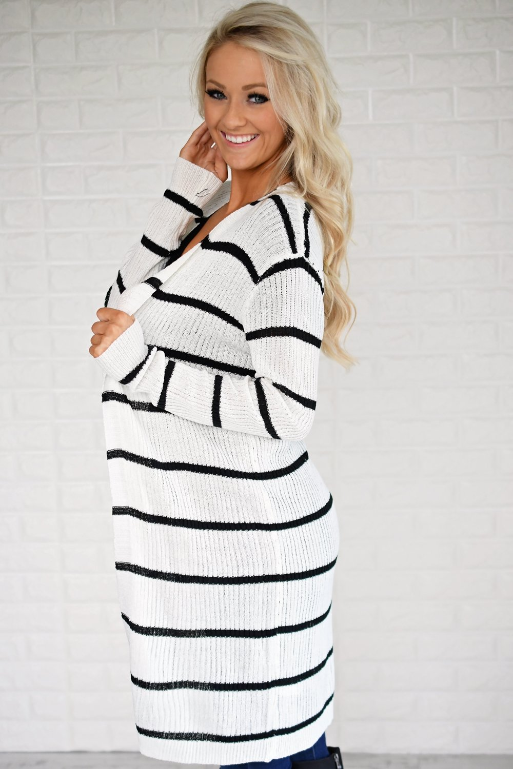 Long Black and White Striped Cardigan