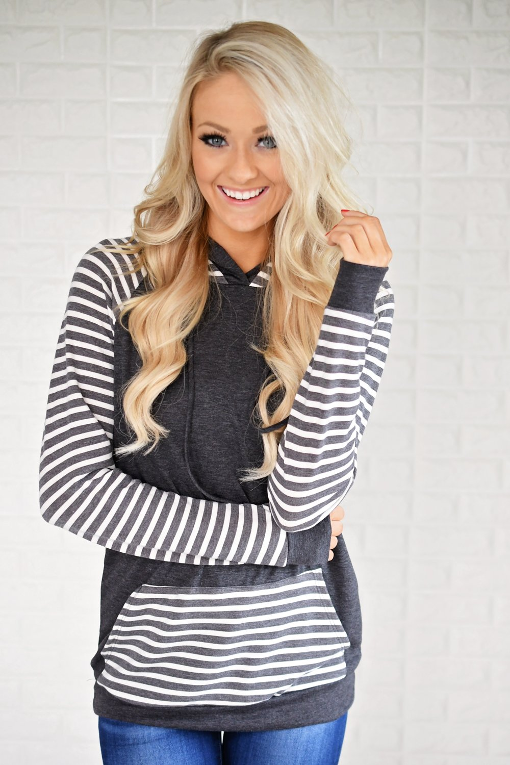 Double Hooded Striped Sweatshirt