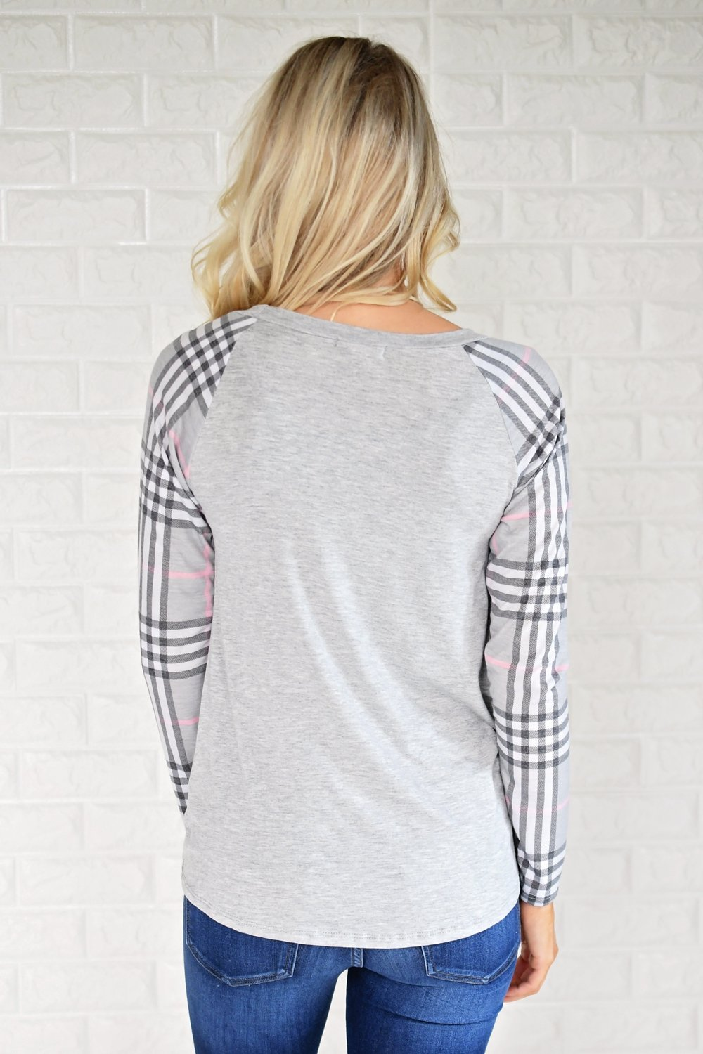 Plaid Sleeve Raglan Top