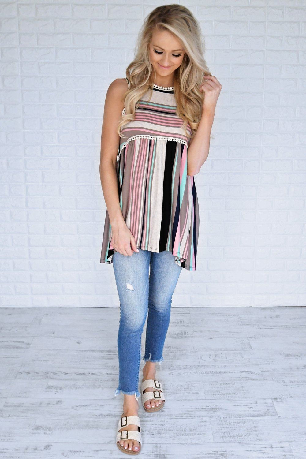 Candy Kisses Striped Tank Top