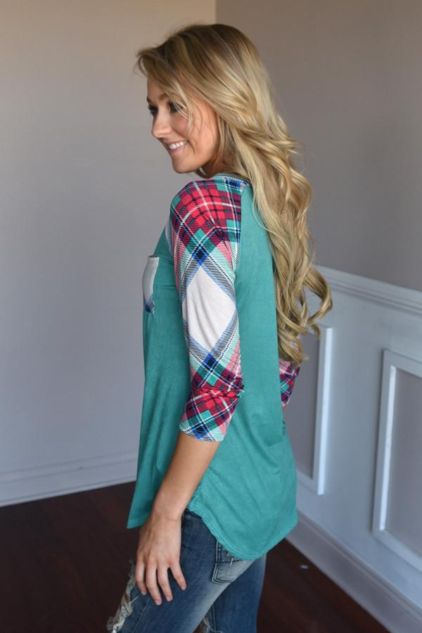 Punch Line Top ~ Teal