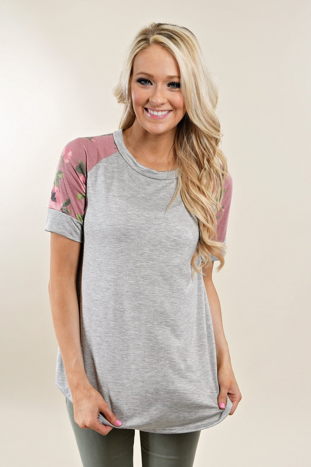 Sweet Pea Pink Floral Sleeve Top ~ Heather Grey
