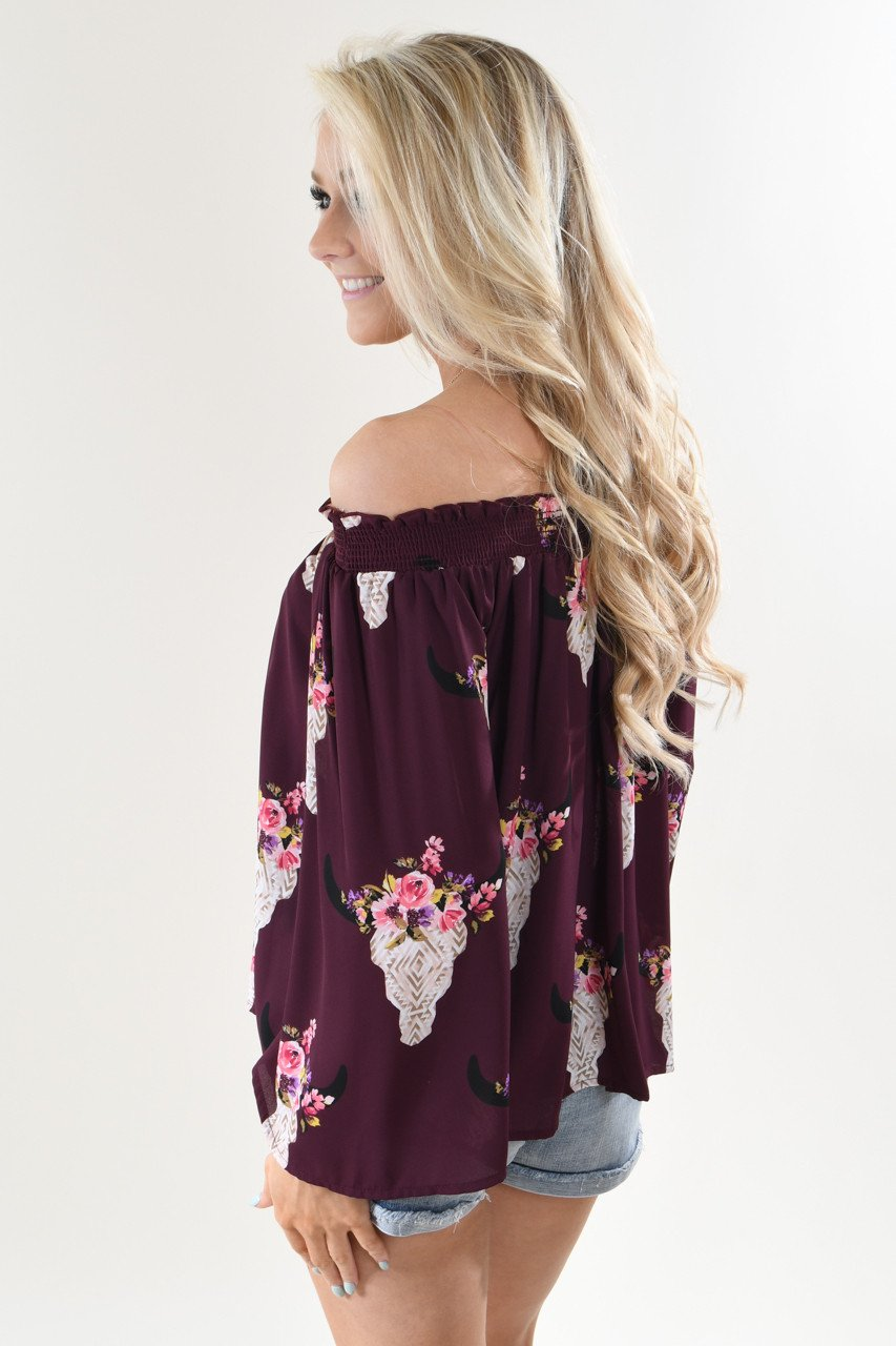 Deep Purple Floral Skull Off the Shoulder Top