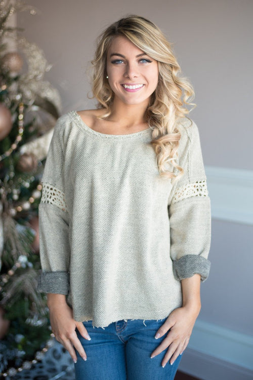 We Go Together Sweater Top ~ Light Mocha
