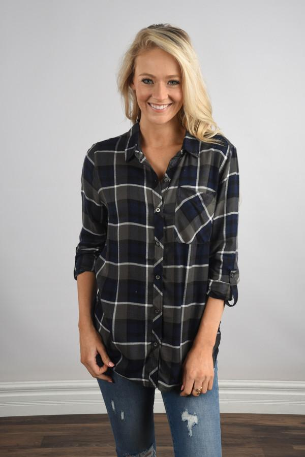 Traditional Navy and Olive Plaid Top