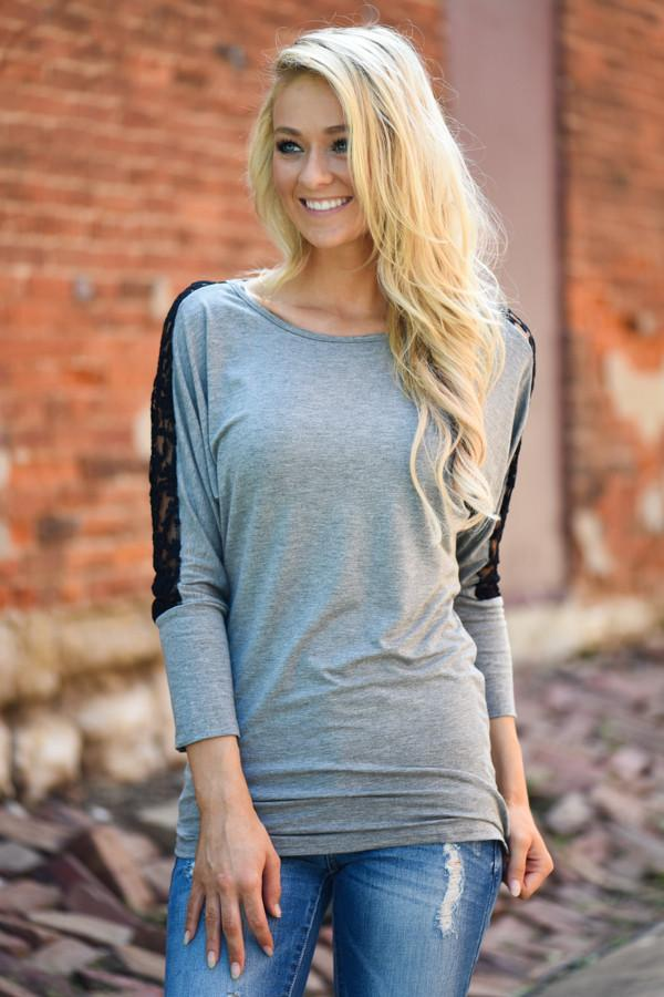 America's Sweetheart Lace Top ~ Grey