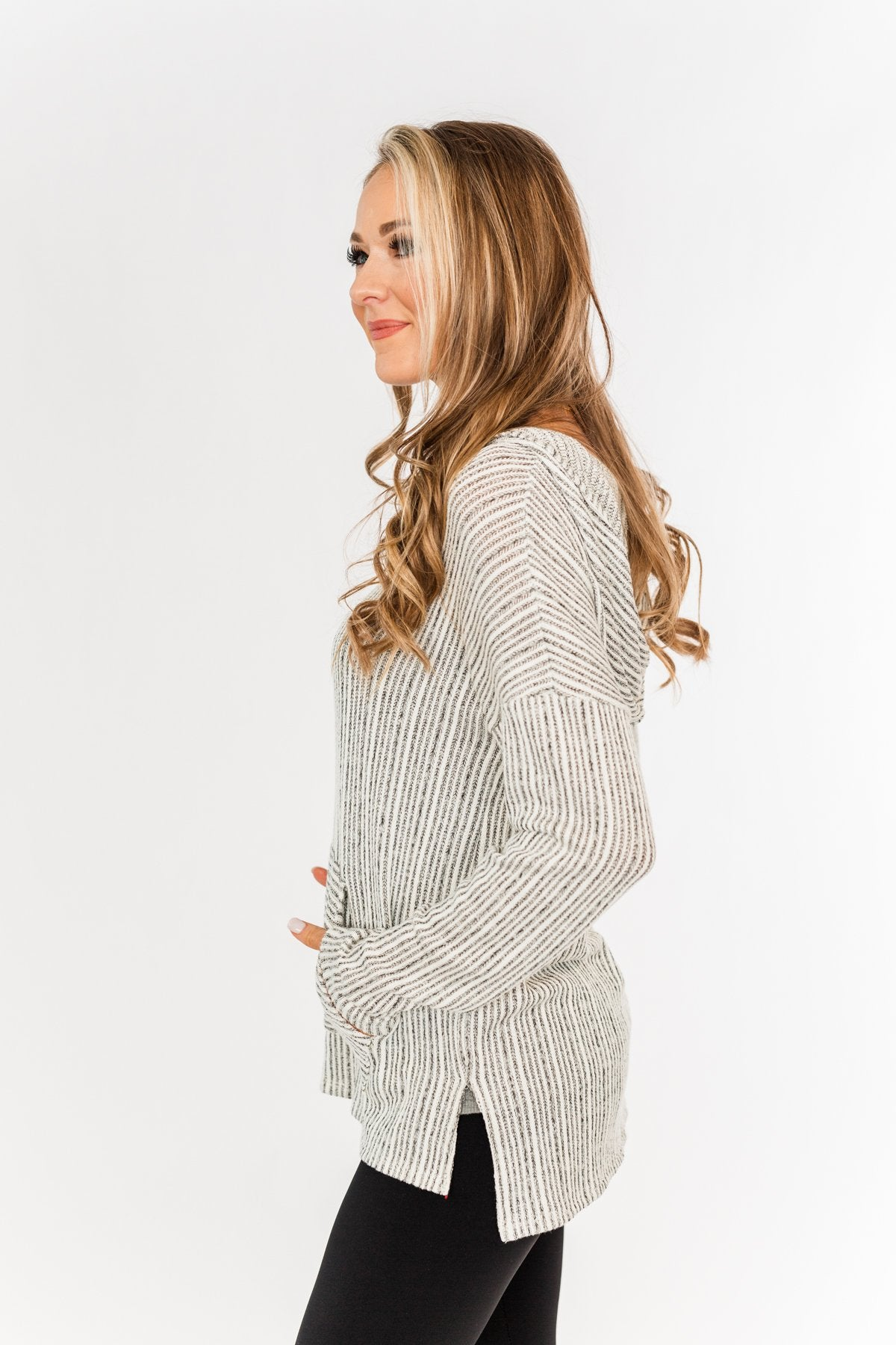 Embrace The Day Knit Hoodie- Ivory & Dark Charcoal