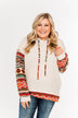 Life Is Beautiful Aztec Knit Hoodie- Light Taupe