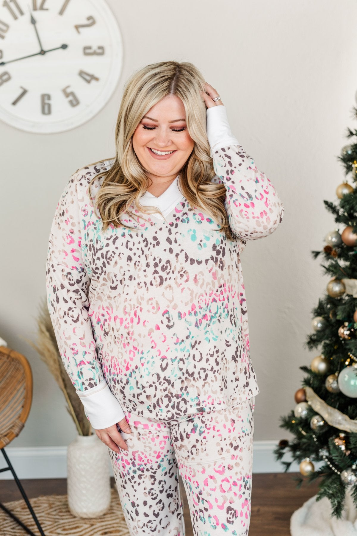 Living It Up Long Sleeve Lounge Top- Cream & Multi-Color