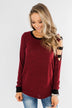 Chasing Dreams Cold Shoulder Top- Burgundy