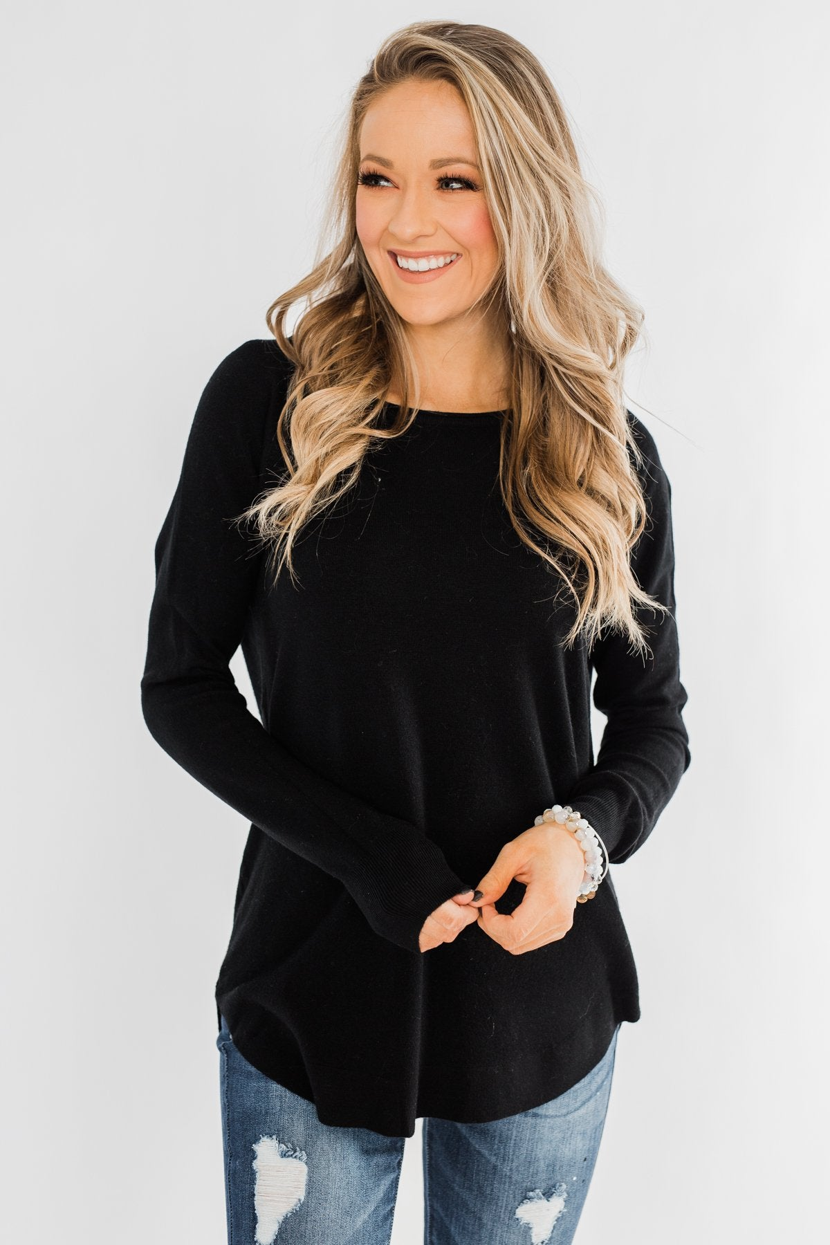 Butter Me Up Sweater- Black