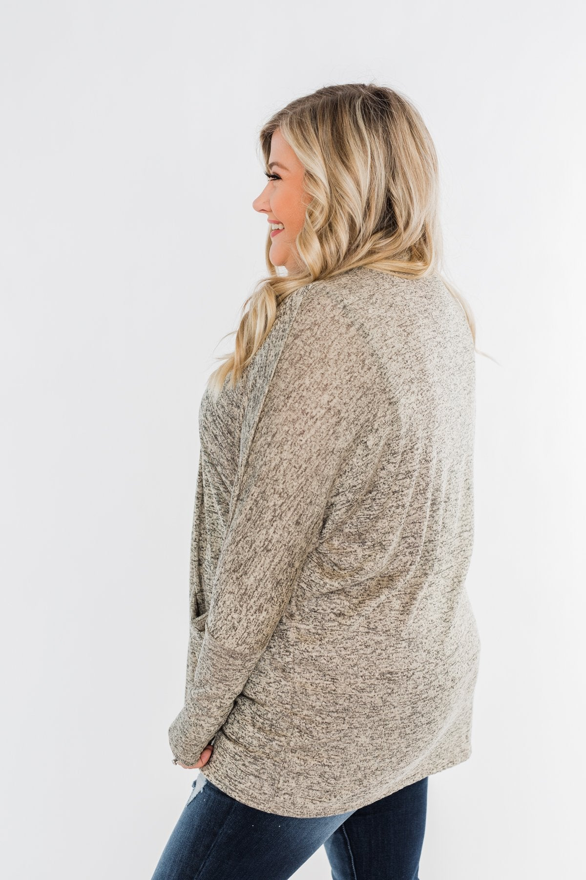 In Your Heart Dolman Cardigan- Heathered Beige