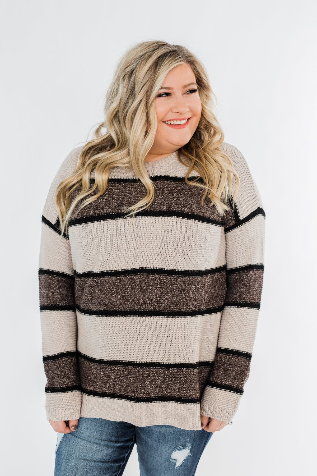 Oh So Soft Striped Knit Sweater- Mocha