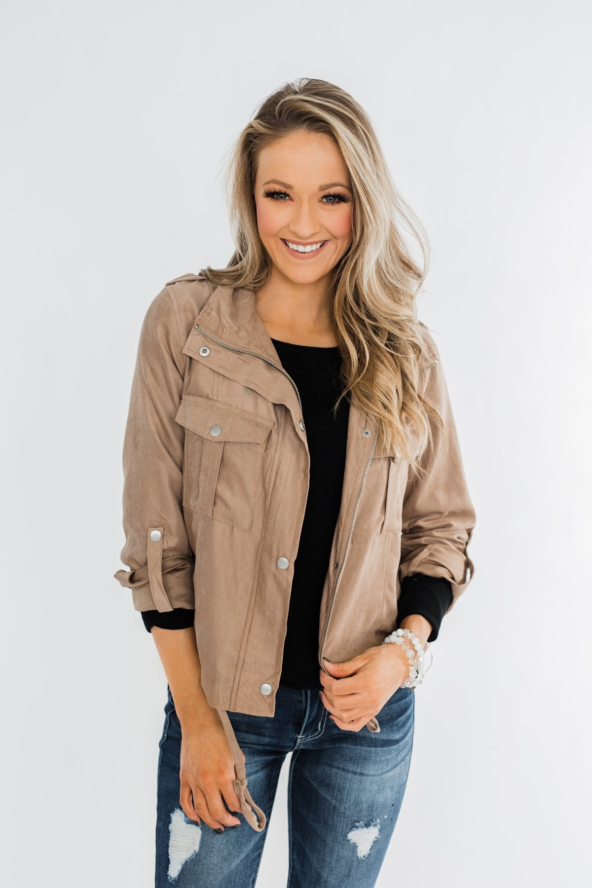 Brisk Morning Lightweight Zip Up Jacket- Mocha