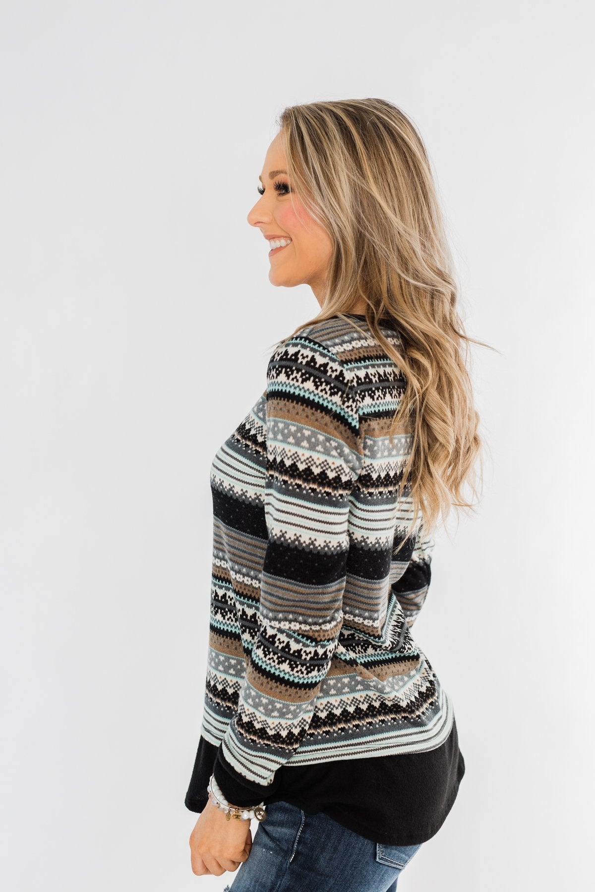 Simply Beautiful Pullover Top- Black & Mint
