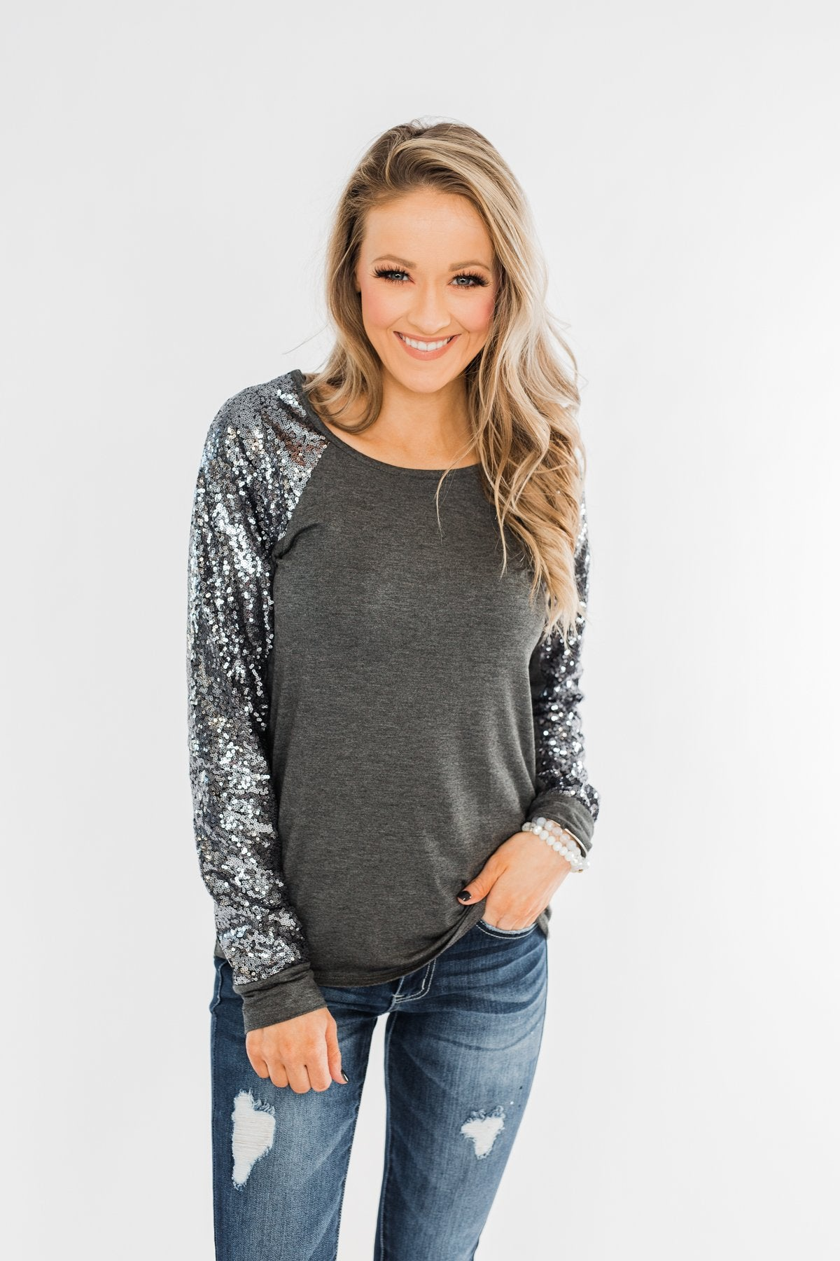Caught My Eye Sequin Top- Charcoal
