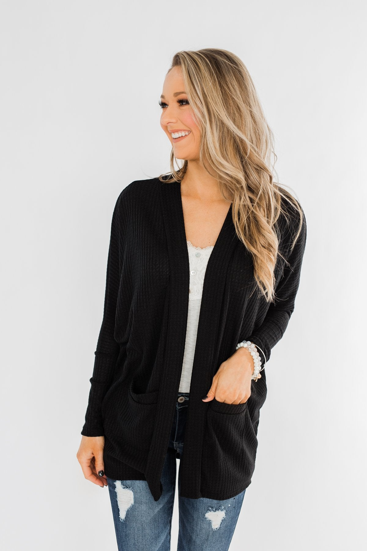 Break Free Waffle Knit Cardigan- Black