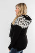 Slay All Day Leopard Drawstring Hoodie- Black & Heather Grey