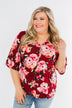 The Way To My Heart Floral Button Top- Burgundy