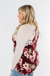 Everything You Need Floral Striped Top- Maroon & Ivory