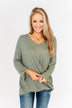 A Wonderful Life Waffle Knit Top- Dark Sage