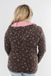 Walk In The Park Floral Drawstring Hoodie- Dusty Charcoal