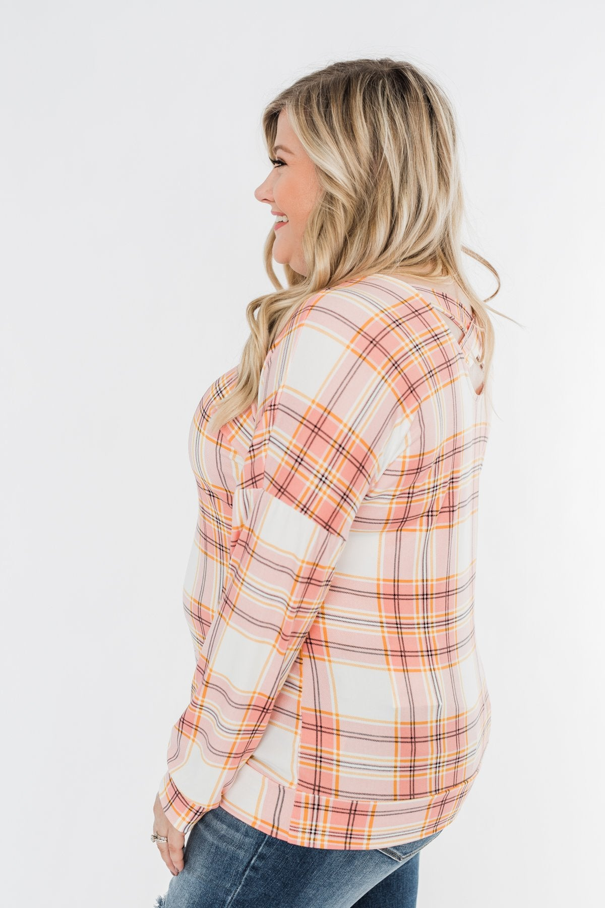 Hey Girl Plaid Criss Cross Top- Pink, Orange, & Ivory