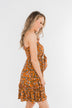 Saying Goodbye Floral Tie Dress- Dark Copper