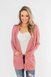 Break Free Waffle Knit Cardigan- Dusty Rose