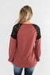Sending My Love Lace Top- Dusty Burgundy
