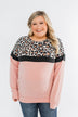 Cheerful in Leopard Color Block Top- Blush & Charcoal