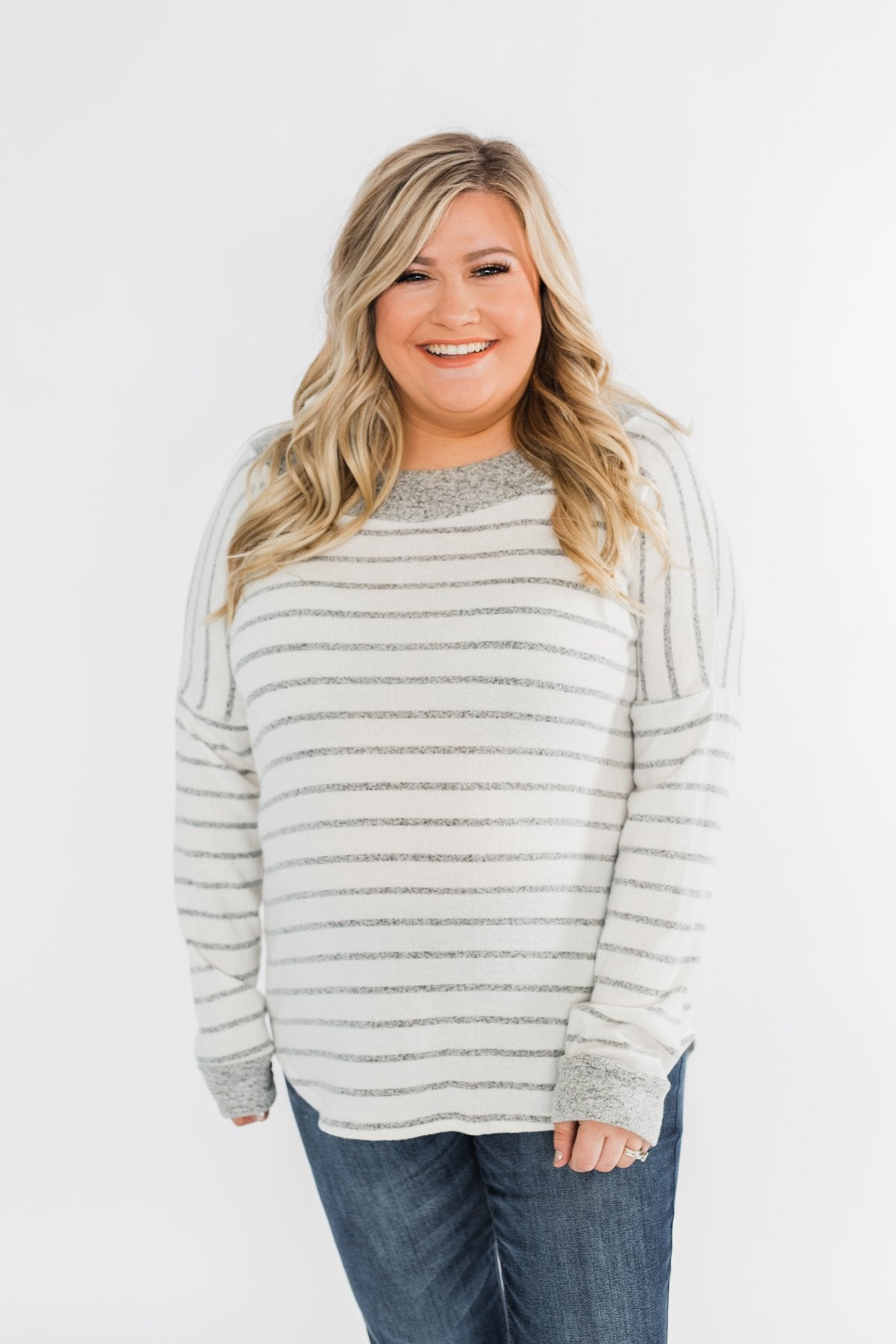 Sight For Sore Eyes Striped Top- Ivory & Grey