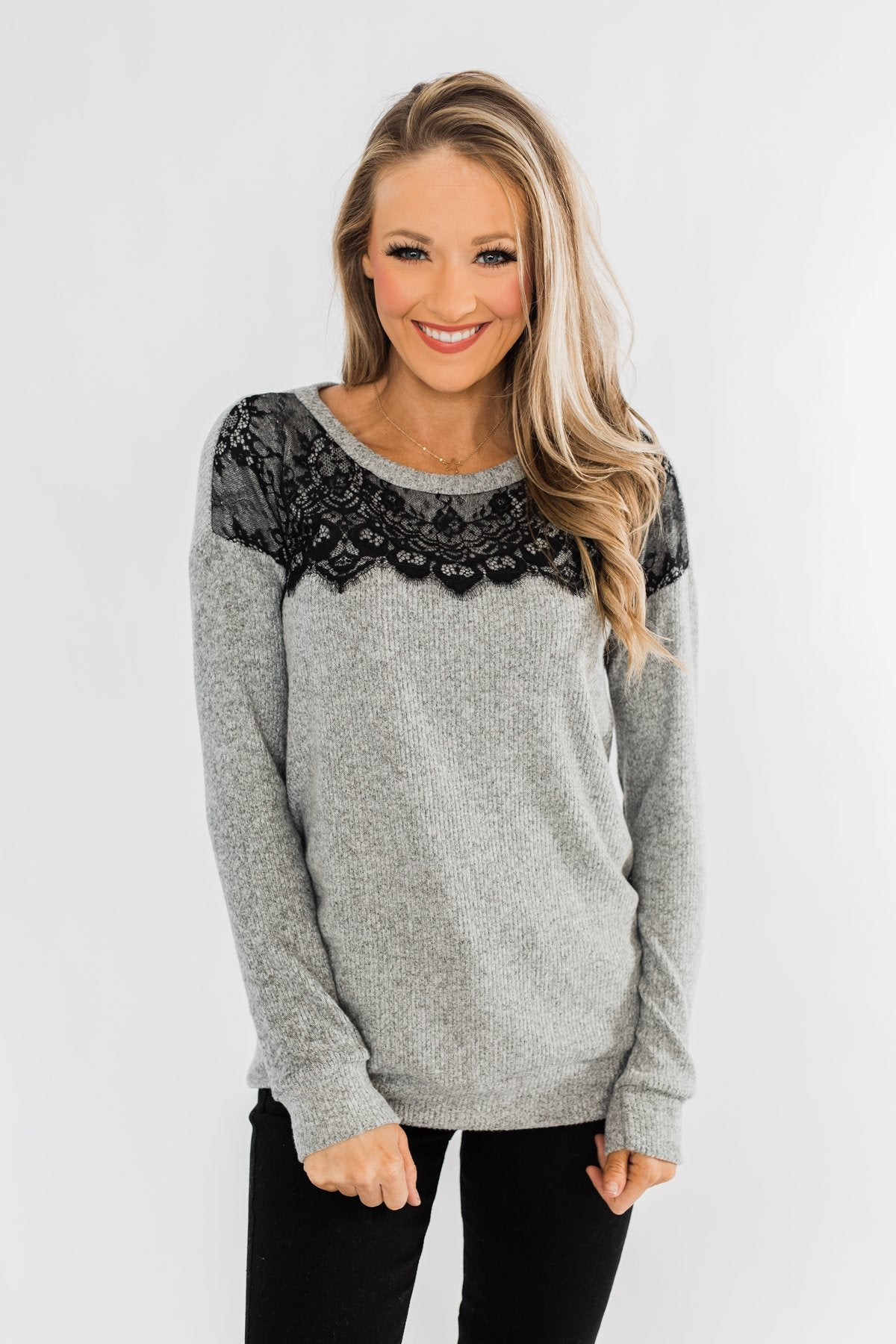 Show Stopper Black Lace Top- Grey