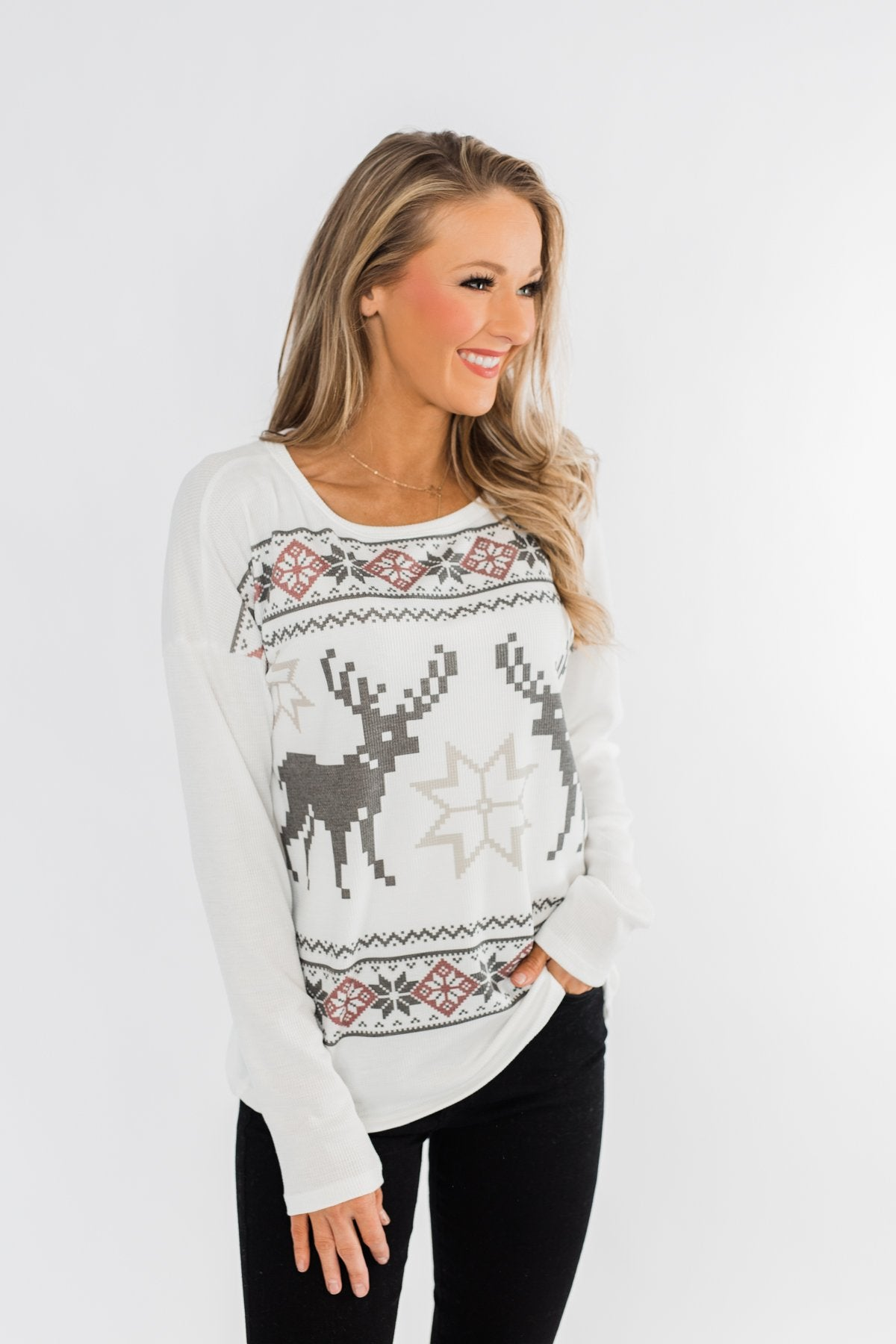 Dashing Through The Snow Thermal Top- Ivory