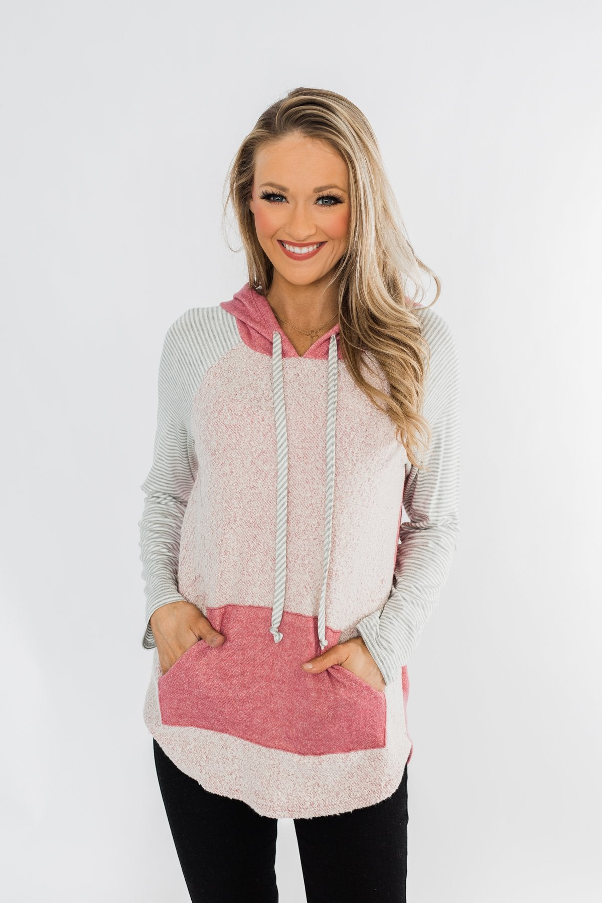 All The Details Drawstring Hoodie- Mauve Pink & Grey