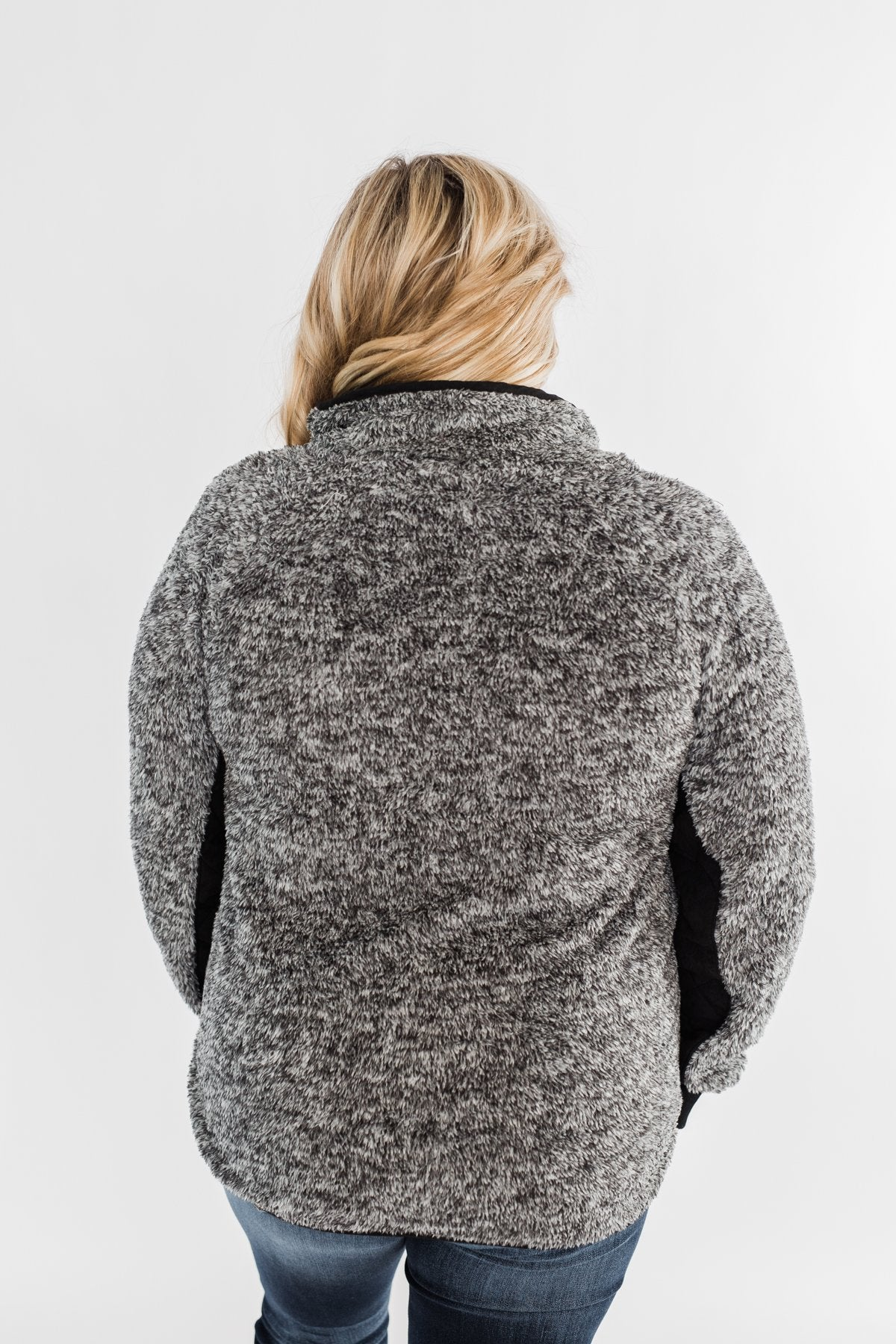 Just My Luck Quilted Sherpa Pullover- Black & Grey
