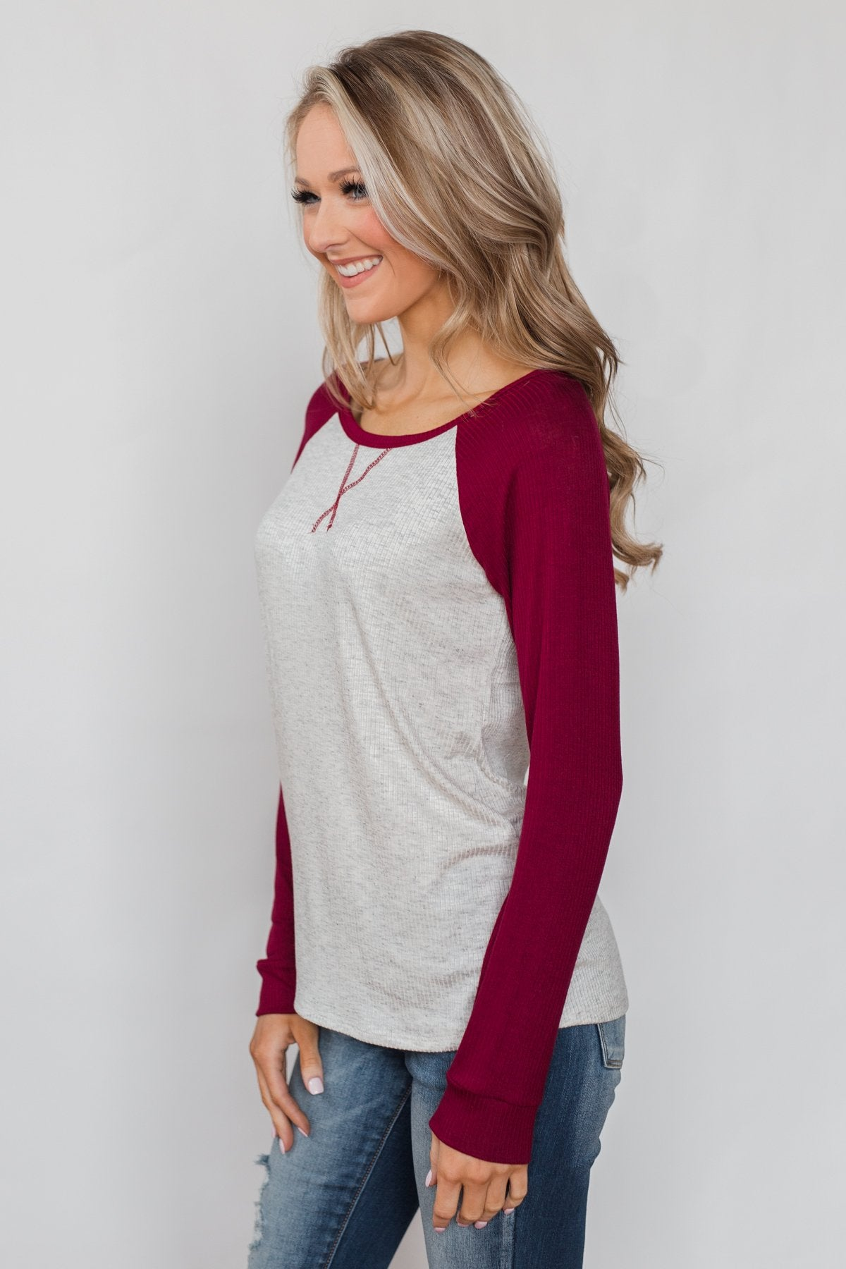Season's Greetings Ribbed Top- Heather Grey & Maroon