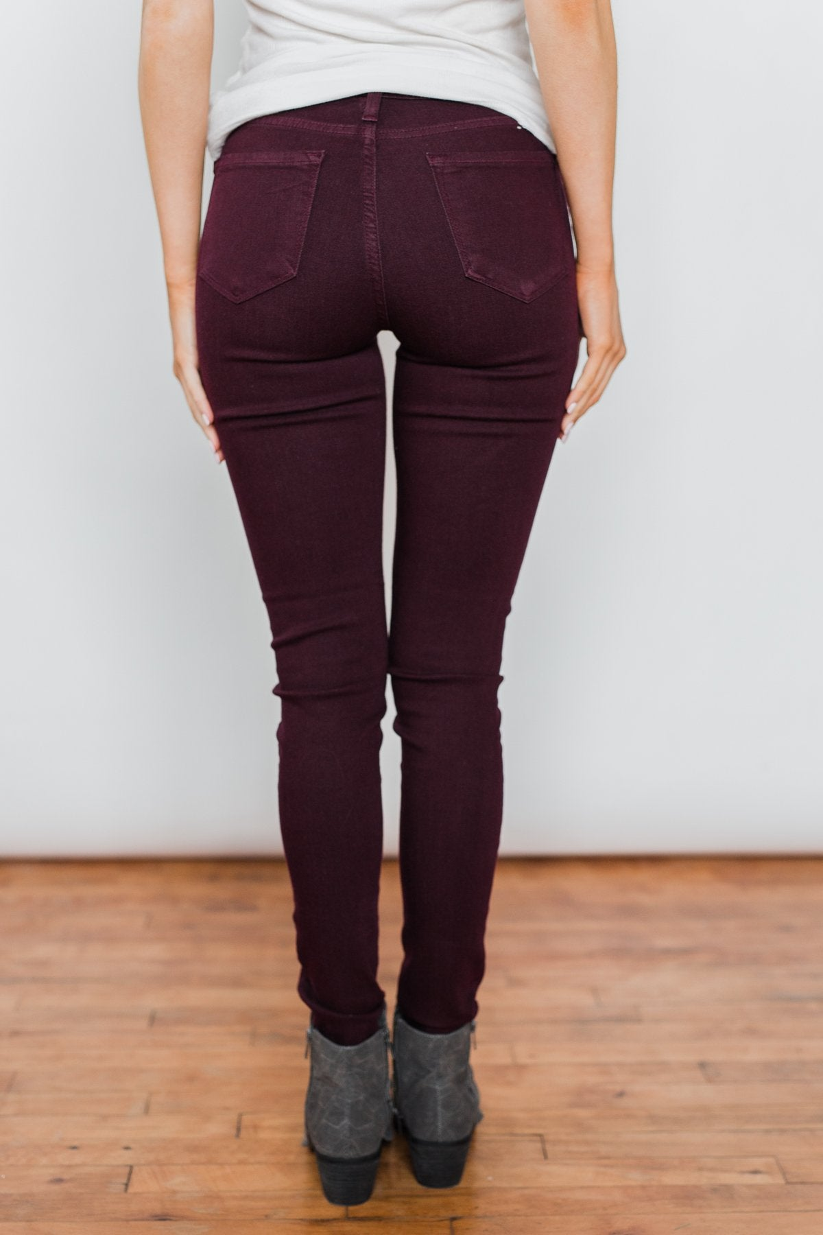 Kan Can Non-Distressed Skinny Jeans- Deep Burgundy